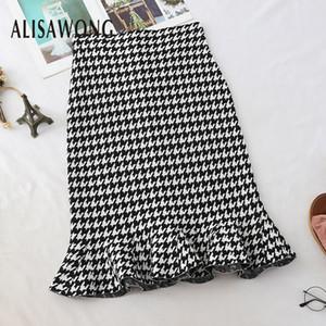 2019 New Arrivals Women Vintage Wrap Skirt Fashion Ladies Black White Plaid Lotus Leaf Hem Midi Skirts Clothing A1105