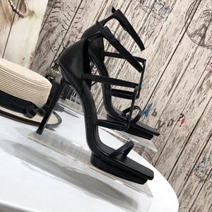 2021 Mujeres clásicas Sandalias Tribute Genuine Cuero Plataforma Sandalias Stiletto High Shoes 11cm T-Strap Party Tacones altos Sandalias con caja US10