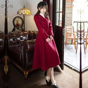 Yosimi 2020 inverno cappotto di lana donne eleganti lana mid-vitello cappotto donne cappotto giuristico colletto di marca abbigliamento marca rossa vino lana giacca1