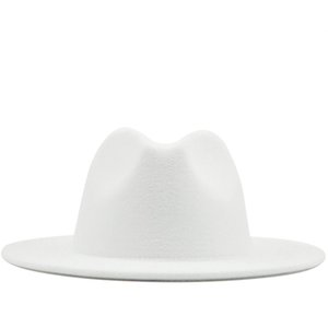 18 colors Simple Wide Brim Fedora Hat For Women Solid Color Wool Felt Hat For Men Autumn Winter Panama Gamble white Jazz Cap 201028