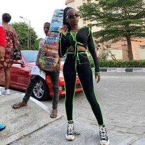TOYHOUSE Women V-neck Bandage Long Sleeve Striped Neon Crop Top Sling Sporty Leggings Ribbed Matching Set Stretchy Skinny Slim Streetwear