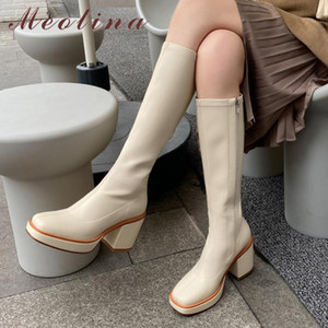 Meotina joelho alta botas mulheres sapatos Zipper Plataforma extrema salto alto Feminino Botas Praça Toe grossas Salto longa das senhoras 43