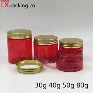 50 PCS Transparente Red Plastic Cream Jar Botellas Oro Cubierta Cosmética Dispensador Contenedor Gel Eye Bank GRATIS Envío Cualdad