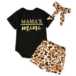 Девочки Одежда наборы Rompers Leopard оголовье Письмо Кнопка печати новорожденный Комбинезон Летний легкий костюм с шортами из трех частей