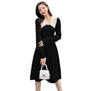 Clothing spring festival clothes festive red polo collar college style knitted dress sweater long sleeve MSMP