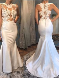 Pretty Lace Appliques Tops Prom Gowns Stretch Fabric Mermaid Evening Party Dress for Special Occations Custom Made