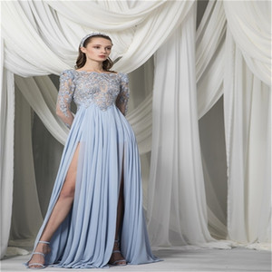 Chic Newest Evening Dress Sexy High Split Prom Dresses Robe De Soirée Long Sleeves Cocktail Party Gown Appliqued Beads Custom Made