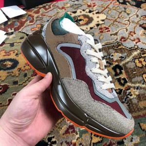 Hochwertige Leder Sneaker Männer Frauen Schuhe mit Erdbeer Welle Mund Tiger Web Print Vintage Trainer Freizeitschuhe Shoe02 / 05