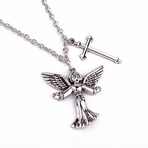 1PC Punk Stainless Steel Angel Cross Necklace Men Jewelry Hip Hop Rock Metal Color Cupid Baby Pendant Long Choker For Women N85