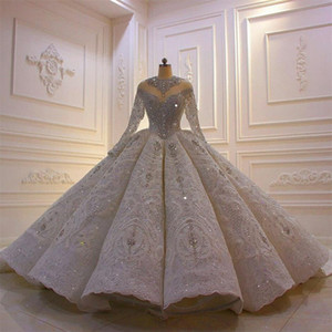 2021 Luxury Crystal Wedding Dresses Customize Vintage Ball Gown Long Sleeve Lace Sequined Sparkle vestido de novia