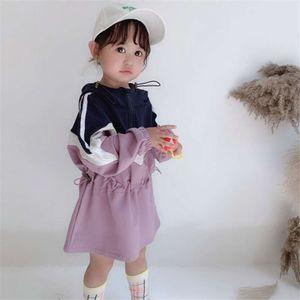 children's Girls' Autumn Hooded color Drs matching casual skirt baby fashion skirt children's wear