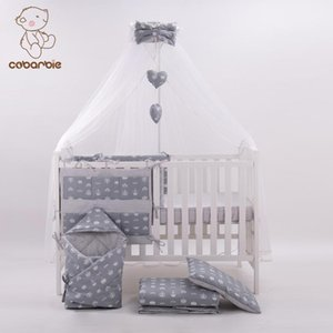 7 Pc Grey Fashion Bed Cot bedding set for newborn babies Infant Room Kids Baby Bedroom Set Nursery Bedding of crown