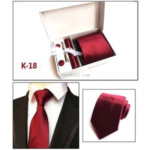 6Pcs Men Business Necktie Cufflinks Handkerchief Clip Set Valentines Gift Geometric Jacquard Wedding Party Accessories 21 Colors