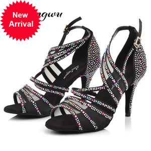 Ladingwu Femmes Chambre de bal de balle Dance latine Noir Red Abricot Brown strass Salesa Tango Chaussures High Heel 6 / 7.5 / 8.5 / 9 / 10cm