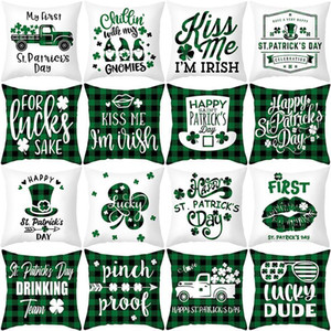 St. Patrick's Day Throw Pillow Covers Decorations - 18 x 18 Inches Shamrock Linen Cushion Cover Irish Pillowcase Gnome Truck Decor HWD4