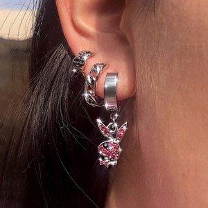 New ins Hip-hop Rabbit Earrings Full Rhinestone Rabbit Dangle Earring Stainless Steel Ear Buckle For Women Men Fashion Jewelry