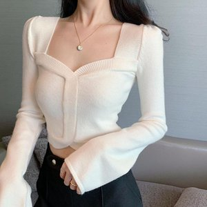 Autumn Spring Girls Square Collar Knitted Full Sleeve Cropped Sweater Pullover Women's Vintage Jumpers Sweaters Crop Tops