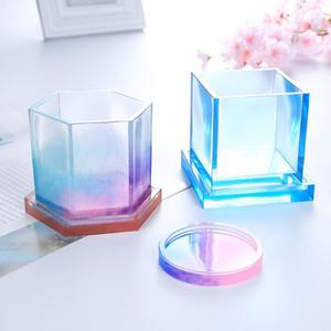 Silikon Döküm Kalıpları Döküm Kristal Kalıp Temizle Epoksi Silikon Reçine Sıvı Kalıp DIY Saksı Baz Çay Coaster EWD2473