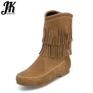 JK Outono Ankle Boots Mulheres Flock Bootie Quadrado Toe Flat Sole Calçado 2021 New Tassel Casual Sapatos Femininos Super Big Torne 34-501