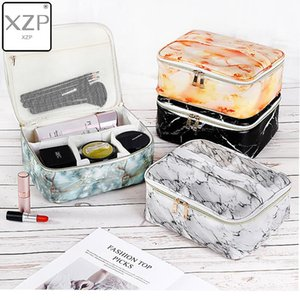 XZP Marble Pattern Cosmetic Bags Women's Makeup Case Lipstick Toiletry Pouch Tote Suitcase Beauty Brush Large Capacity Pouch Supplies