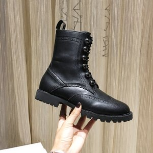 Fashion Women 2021 Classic Chunky Heels Platform Ankle Boots Brand Lace Up Genuine Leather Martin Boots Size 34-40