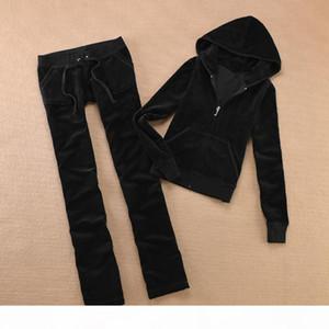 Kadife kadın Kumaş Eşofman Velor Suit Kadınlar Track Suit Hoodies ve Pantolon Sapphire1