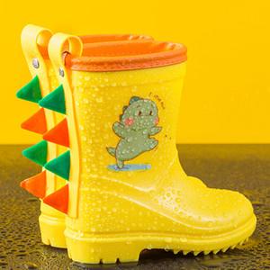 Kids Rain Boots Toddler Waterproof Cute Dragon Dinosaur Booties Water Shoes for Girl Boys Toddler Raincoat 201020