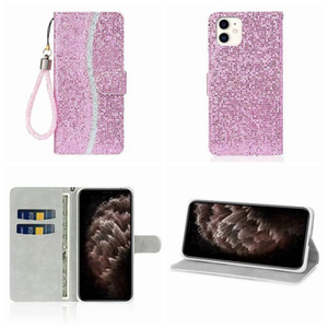 Leather Wallet Case For Iphone 12 pro max mini 6.1 Galaxy Note 20 Ultra A21S Bling Sparkle Sequin Deluxe Glitter Flip Cover Holder Lanyard