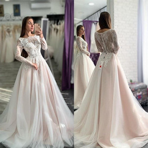 Blush Long Sleeves Wedding Dresses 2021 Illusion lace Applique Covered Buttons Sweeo Train Custom Made Chapel Wedding Gown vestido de novia
