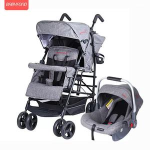 2020 Twin Kinderwagen Multifunktions-Doppel-Großkind-Kinderwagen Kinderwagen Leichte Faltung kann mit Autositz sitzen und liegen1