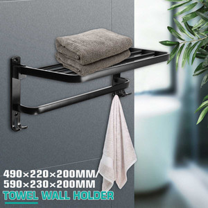 Xueqin 490  Alumimum Black Foldable Towel Holder Towel Shelf Wall Mounted Bathroom Towel Rack Storage Hanger Shelf T200915