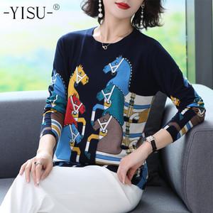 YISU Вязаные свитера Женщины осень зима длинный рукав шеи O пуловер мультфильм лошадь набивным рисунком тонкой перемычки свитер женщин 201017