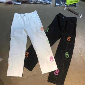 Hot Retro-Taschen-Buchstabe-Druck Gerade Cargo Pants Männer und Frauen Aufmaß-Jeans-Hose Street beiläufige Denim-Hosen