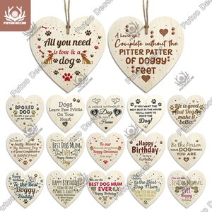Putuo Sign Heart Plaque Wooden Lovely Friendship Door Hanging Decor Crafts Ornament for Gifts To Dog House Tags