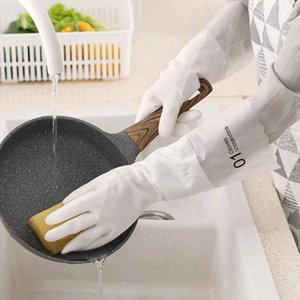 Luvas de lavar louça impermeável de cozinha duráveis tarefas de limpeza Trabalhos domésticos de lavar loiça luvas brancas plástico antiderrapante Household Luvas FWF2944