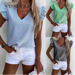 Elegant Women Bluses Pineapple Print Ruffle Blouse Camicette Camicie Ufficio Lady Top Summer Manica Corta Slim Blusas Mujer de Moda 20201