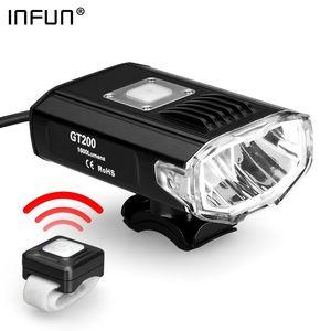 Infus GT200 Пульт дистанционного управления Велосипедного света 2200 Люмен USB Перезаряжаемый MTB Фара IPX 4 Велоспорт дорожный велосипед Фонарик 201028