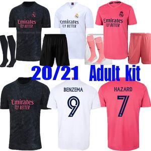 Homens Kit Adulto Real Madrid Soccer Jersey Home 20 21 Hazard Asensio Sergio Ramos Camiseta 2020 2021 Vini Jr Mendy Futebol Camisas