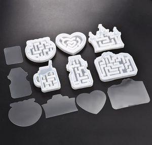 Quicksand Maze Sile Mold Shaker Molds Milk Bottle Heart Shape Uv Epoxy Resin Mold Heart Keychain Pendant Craf jllaZe eatout