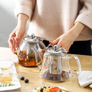 1L Cuisinière à induction électromagnétique verre borosilicate Teapot 304 acier inoxydable Filtre pot de fleur thé bouilloire multifonctions