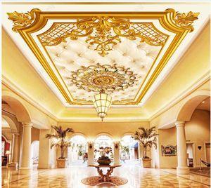 Custom ceiling wallpaper for walls 3d ceiling zenith mural Luxury European style golden embossed pattern ceiling mural home decoration