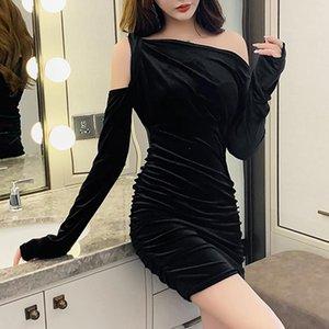Autumn Elegant Women Off Shoulder Velvet Wrap Dresses Sexy Fold Skinny Clavicle Sexy V-Neck Bodycon High Waist Lady Mini Dress