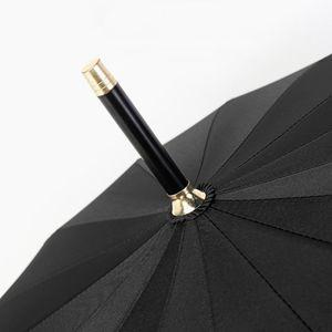 Logo personalizzato Golf Forte ombrello antivento Maniglia dritta lunga semi-automatica 16 ombrelloni Bone Business Unisex Solid Ombrello PPD3376
