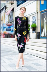 High quality embroidery black pencil dress 2018 Autumn runway long sleeve diamonds elegant dress Fashion OL dress D403