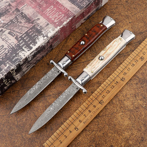 Acampamento ao ar livre 9 polegadas Mafia Damasco Antlers de aço / punho de madeira Faca de dobramento automático Faca de fruta de bolso de caça tática