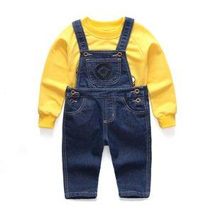 Terno Rapazes Meninas Set Childrens Denim Shorts / Longs camiseta roupa dos miúdos e 2pc Minions Vestuário 1-6 Anos