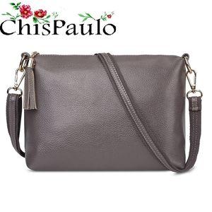 CHISPAULO женщина 2020 Марка Дизайнерские сумки способа высокого качества из натуральной кожи Сумки для женщин Коммуникатор Crossbody сумка X59 Q1106