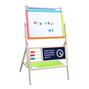 Multifunction Wooden Kid's Art Education Easel Black Board with Accessories for Over 3 Years Old Children Gifts