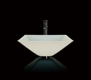 Modern White Simple Style Round And Retangular Bathroom Handmade Washbasin Countertop Washbasin Toughened Glassware Sink