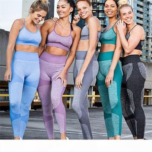 Womens 2pcs Yoga Fitness Tracksuits Summer Designer Sexy Bra With Long Leggings Sports Suits Females Breathable Panelled Quck Dry Sets